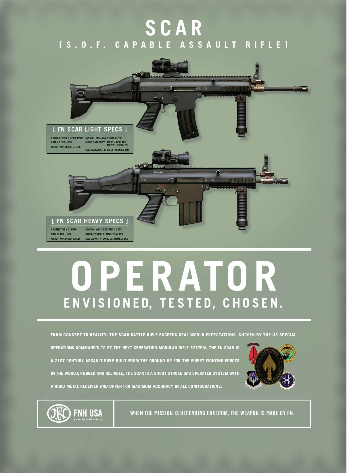 FN%20SCAR <!  :en  >FNH USA S.O.F. Capable Assault Rifle Spec Sheet. (Weapon Pics!)<!  :  >