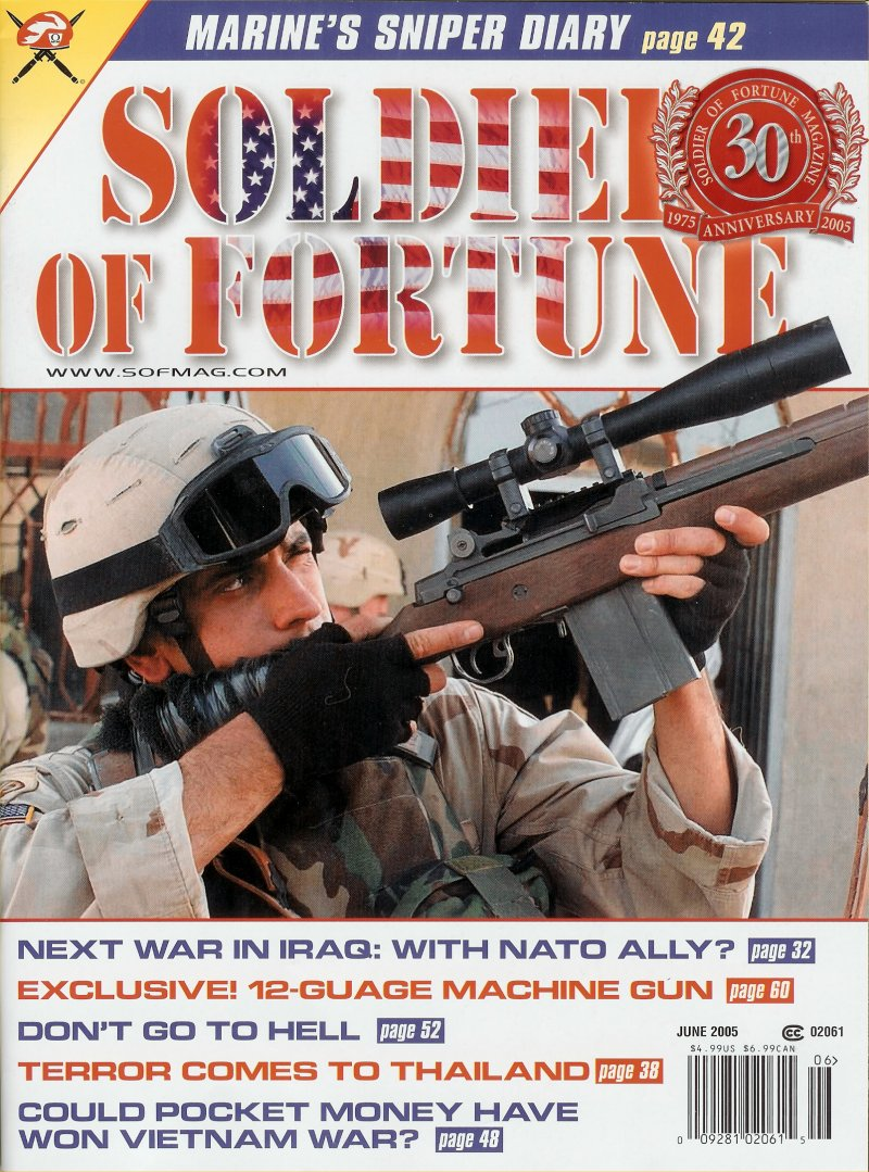 SOF%20Mag%20June%202005%20 %20AA12%20Shotgun%20 %20L.%20James%20Sullivan%20%28Jim%20Sullivan%29 Cover <!  :en  >Auto Assault 12 (AA 12) Full Auto Machine Shotgun/FRAG 12 High Explosive Round Combo/Weapon System?<!  :  >