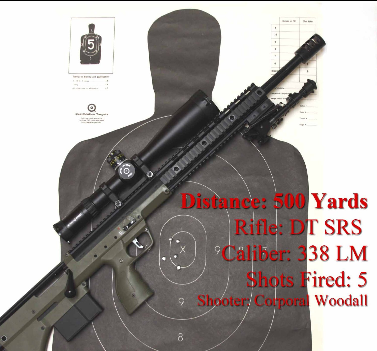 DesertTacicalArms SRS338LM 500YardTarget Small <!  :en  >Desert Tactical Arms Stealth Recon Scout Modular/Multi Caliber Bullpup Anti Materiel/Sniper Rifle for Military Special Operations Forces (SOF) and Civilian Tactical Shooters<!  :  >