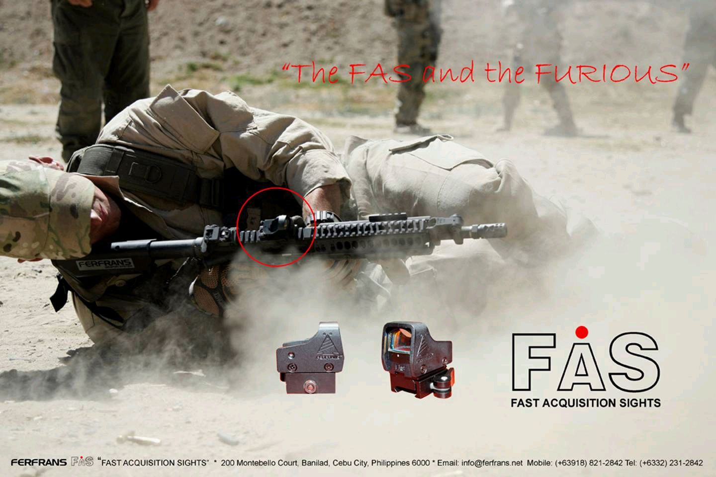 FERFRANS FAS CombatSight 3 <!  :en  >FERFRANS FAS (Fast Acquisition Sight) HUD Style Red Dot Sight/Combat Optic for Urban Warfare Applications<!  :  >