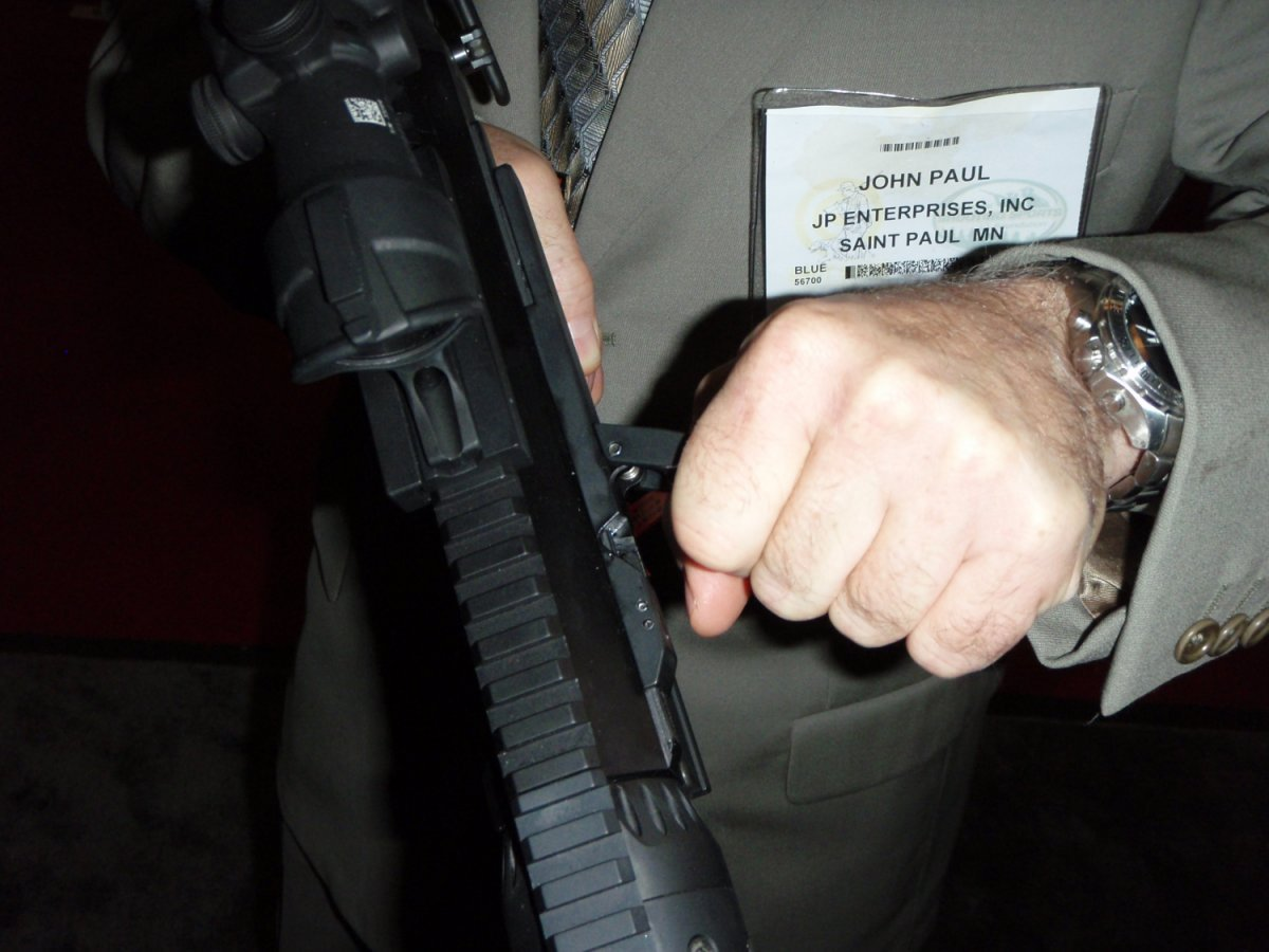 JP Enterprise Side Charging Handle SHOT Show 2009 6 <!  :en  >JP LRP 07 Long Range Precision Rifle 7.62mm with Left Side Charging System<!  :  >