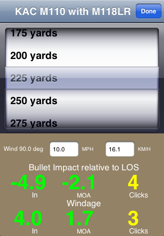 KAC BulletFlight App Distance 1 <!  :en  >KAC BulletFlight Sniper App for M110 SASS Mounted iPhone or iPod Touch<!  :  >