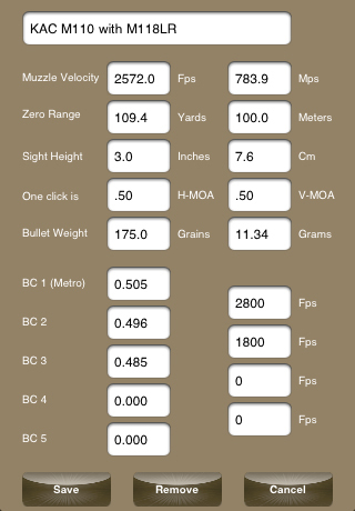 KAC BulletFlight App Perameter Input Screen 1 <!  :en  >KAC BulletFlight Sniper App for M110 SASS Mounted iPhone or iPod Touch<!  :  >