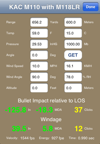 KAC BulletFlight App Perameter Input Screen 2 <!  :en  >KAC BulletFlight Sniper App for M110 SASS Mounted iPhone or iPod Touch<!  :  >