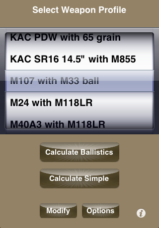 KAC BulletFlight App Weapon Profile Select 1 <!  :en  >KAC BulletFlight Sniper App for M110 SASS Mounted iPhone or iPod Touch<!  :  >
