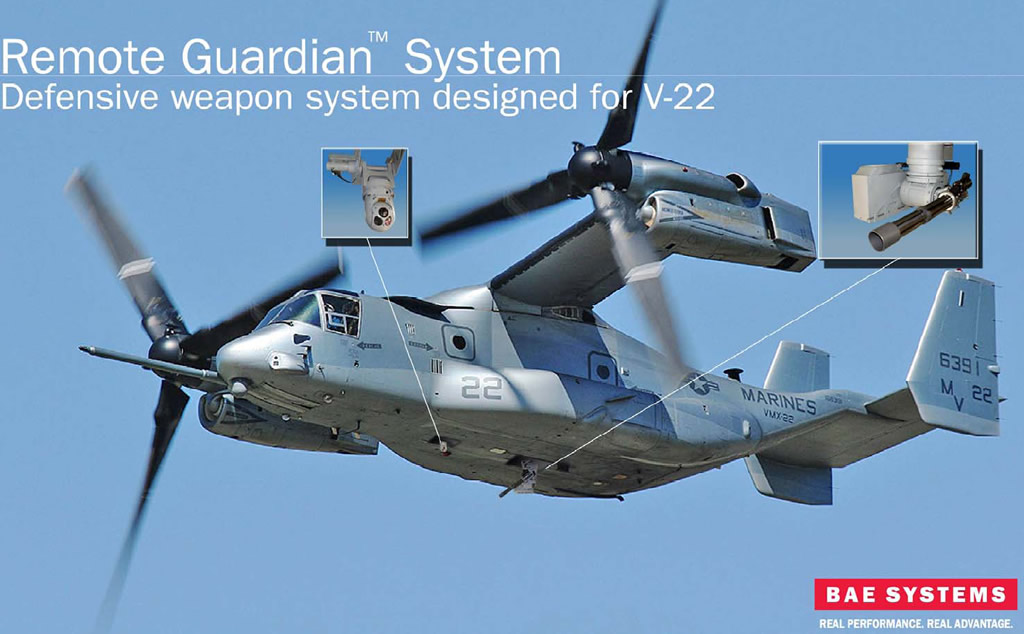 MV 22 Osprey with RGS 1 <!  :en  >BAE Remote Guardian System (RGS) Remotely Operated Gun Turret<!  :  >