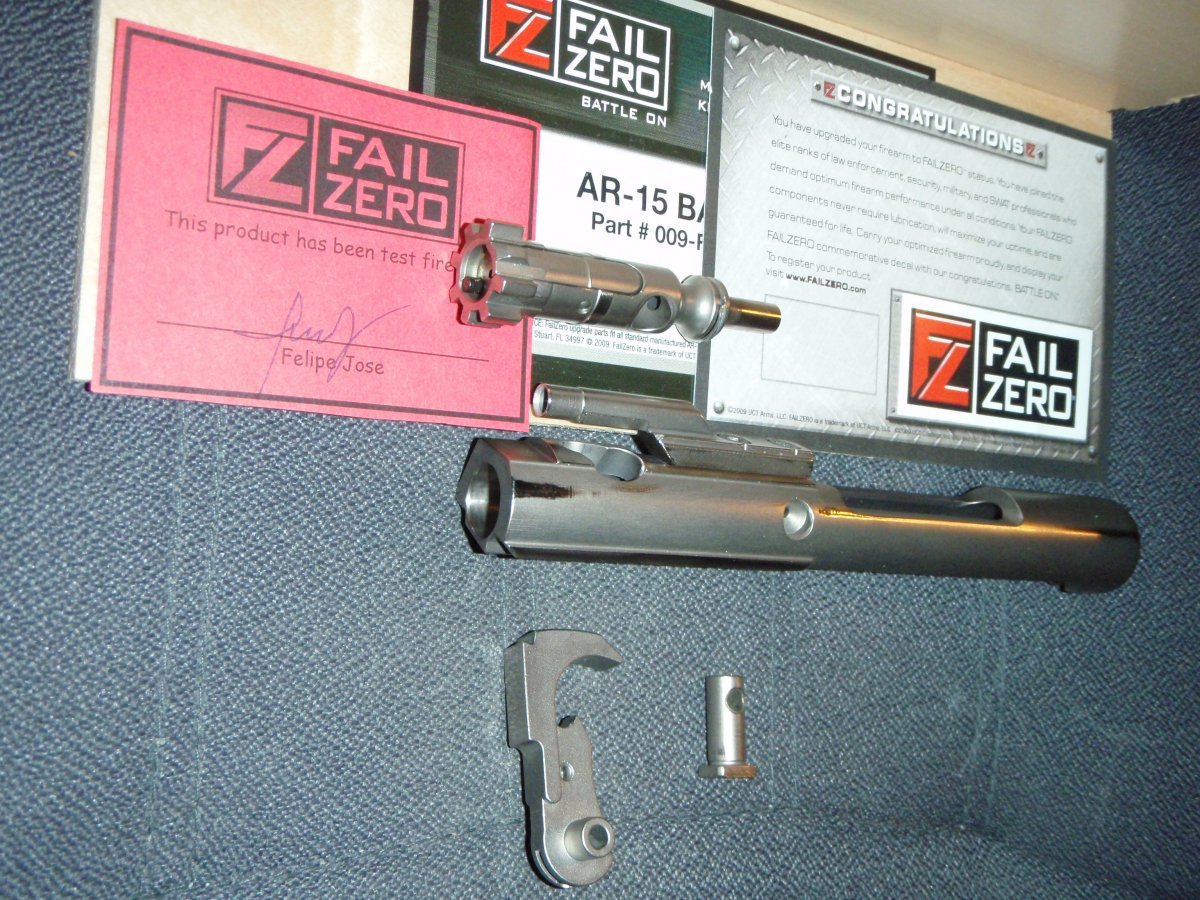 fail zero ar15 basic kit bolt separated 2 <!  :en  >FailZero AR 15 Basic Kit: Tactical AR 15 Carbine Parts Upgrade Kit with EXO Technology Self Lubricating Firearms Coating<!  :  >