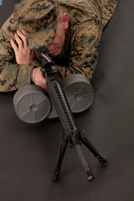 Armatac SAWMAG 150rd Double Drum Mag for USMC IAR 1 <!  :en  >Video: Armatac SAW MAG (also written SAWMAG) 150 Shot Double Drum Magazine for USMCs HK M27 IAR (Infantry Automatic Rifle) for Mobile Infantry: FN M249 SAW/LMG Look Out! <!  :  >
