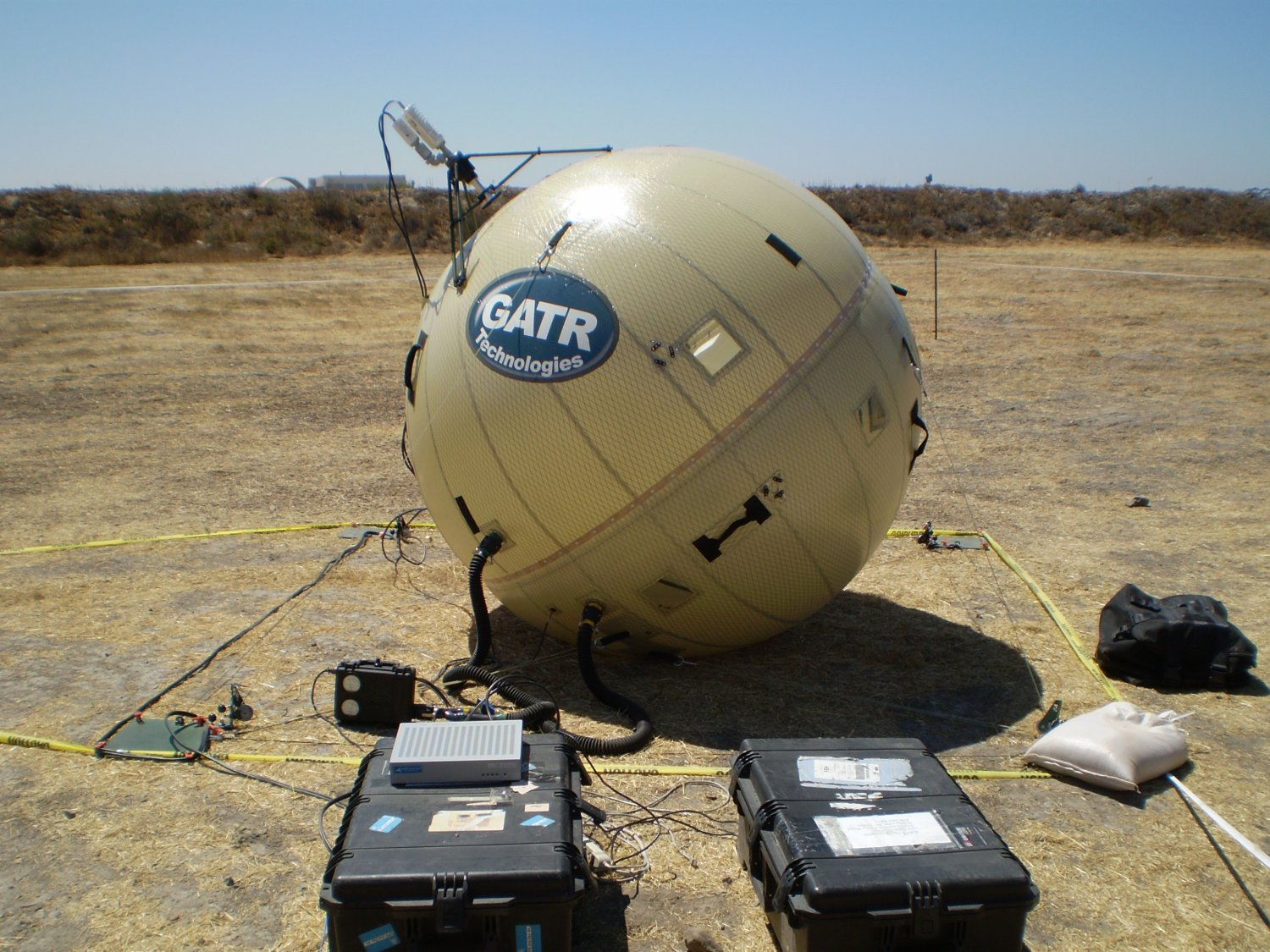 GATR 2.4m Beach Ball SATCOM 4 small <!  :en  >GATR Technologies Ultra Transportable Beach Ball Style C band Inflatable Satellite Communications (SATCOM) Antenna Systems: Tactical Communications for Military Special Operations (SPECOPS) in Adverse Conditions<!  :  >