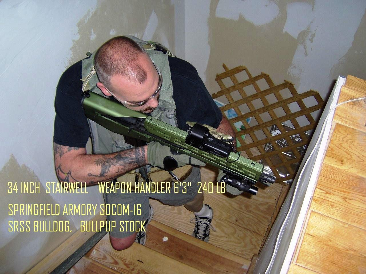 BullDog 762 Bullpup M14 M1A Rifle Chassis Stock System NYPD Det. Patrick OConner Stairs 90 degree <!  :en  >GEN 3 SRSS BullDog 762 BullPup M14/M1A 7.62mm NATO Rifle/Carbine Chassis/Stock System for Urban Tactical Operations, including Vehicle Ops (Review and Photos!)<!  :  >