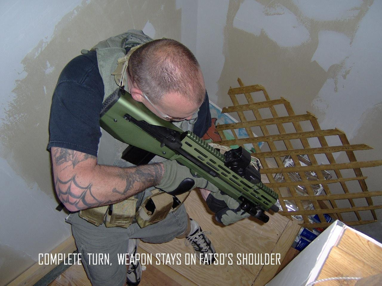 BullDog 762 Bullpup M14 M1A Rifle Chassis Stock System NYPD Det. Patrick OConner Stairs low <!  :en  >GEN 3 SRSS BullDog 762 BullPup M14/M1A 7.62mm NATO Rifle/Carbine Chassis/Stock System for Urban Tactical Operations, including Vehicle Ops (Review and Photos!)<!  :  >