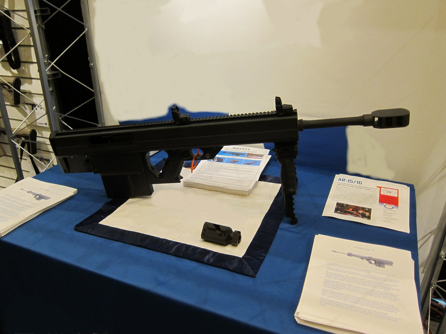 Leader 50 BMG Semi Auto Bullpup .50 BMG Anti Materiel Sniper Rifle at SHOT Show 2011 1 <!  :en  >Leader 50 BMG Revolutionary Ultra Compact and Lightweight Semi Auto Bullpup .50 BMG (12.7x99mm NATO) Anti Materiel/Sniper Rifle for Military Special Operations Forces (SOF) and Civilian Tactical Shooters: Coming Soon to a Theater of Operations and Shooting Range Near You? <!  :  >