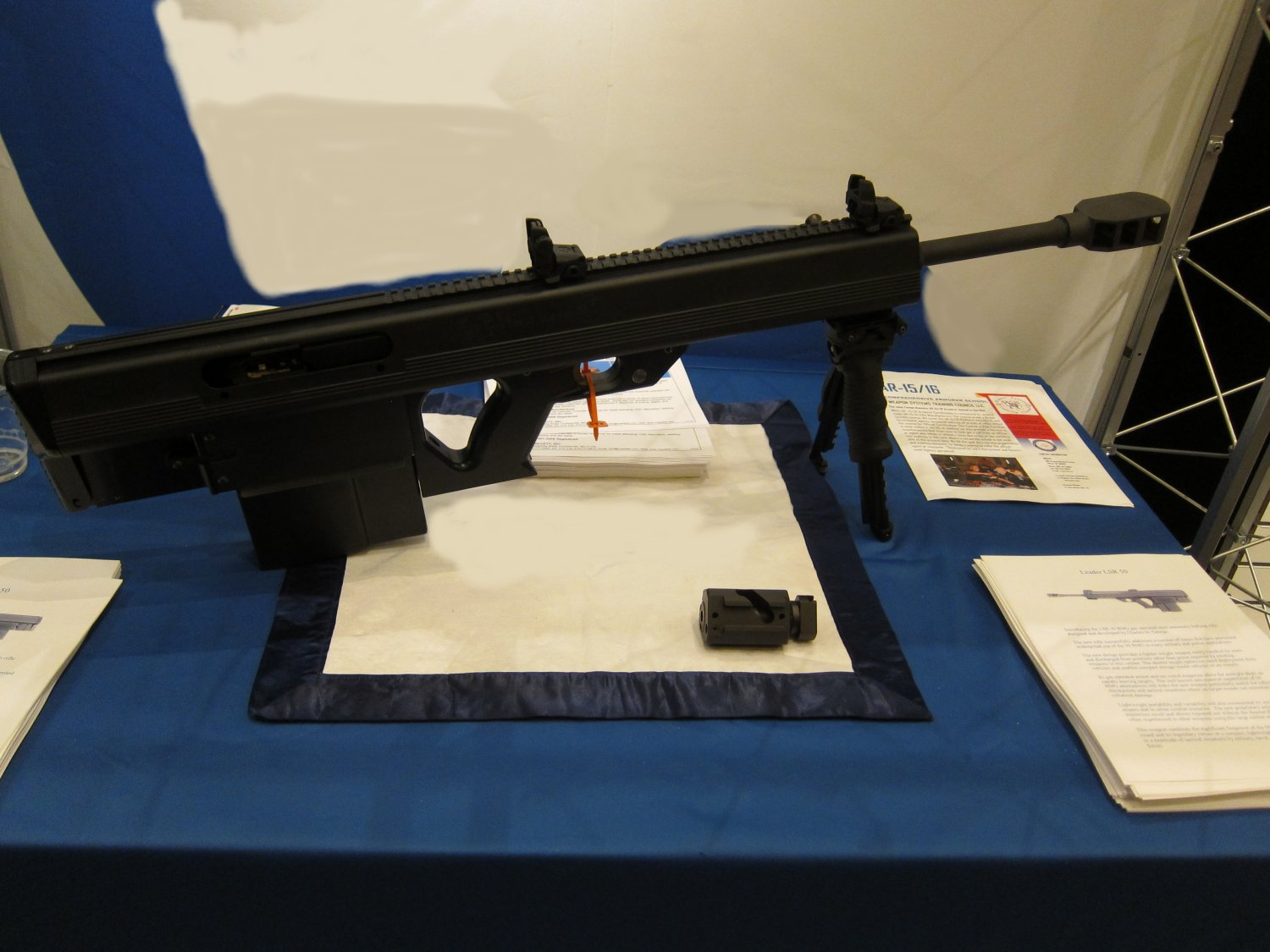 Leader 50 BMG Semi Auto Bullpup .50 BMG Anti Materiel Sniper Rifle at SHOT Show 2011 2 <!  :en  >Leader 50 BMG Revolutionary Ultra Compact and Lightweight Semi Auto Bullpup .50 BMG (12.7x99mm NATO) Anti Materiel/Sniper Rifle for Military Special Operations Forces (SOF) and Civilian Tactical Shooters: Coming Soon to a Theater of Operations and Shooting Range Near You? <!  :  >