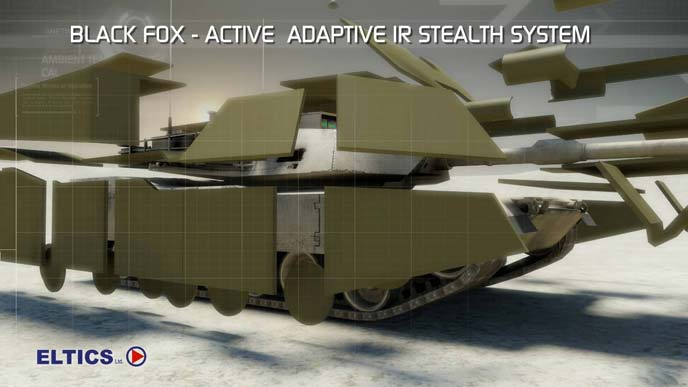 ELTICS Black Fox Active Adaptive IR Stealth System Adaptive Camouflage 1 <!  :en  >ELTICS Black Fox Active, Adaptive IR Stealth System / Electronic Thermal Infrared Countermeasure System: Multi Spectral Thermal/IR (Infrared) Adaptive Camouflage/Cloaking System for Combat Vehicles, Helicopters, and Warships Coming soon to a Battlespace/Theator of Operations Near You! <!  :  >
