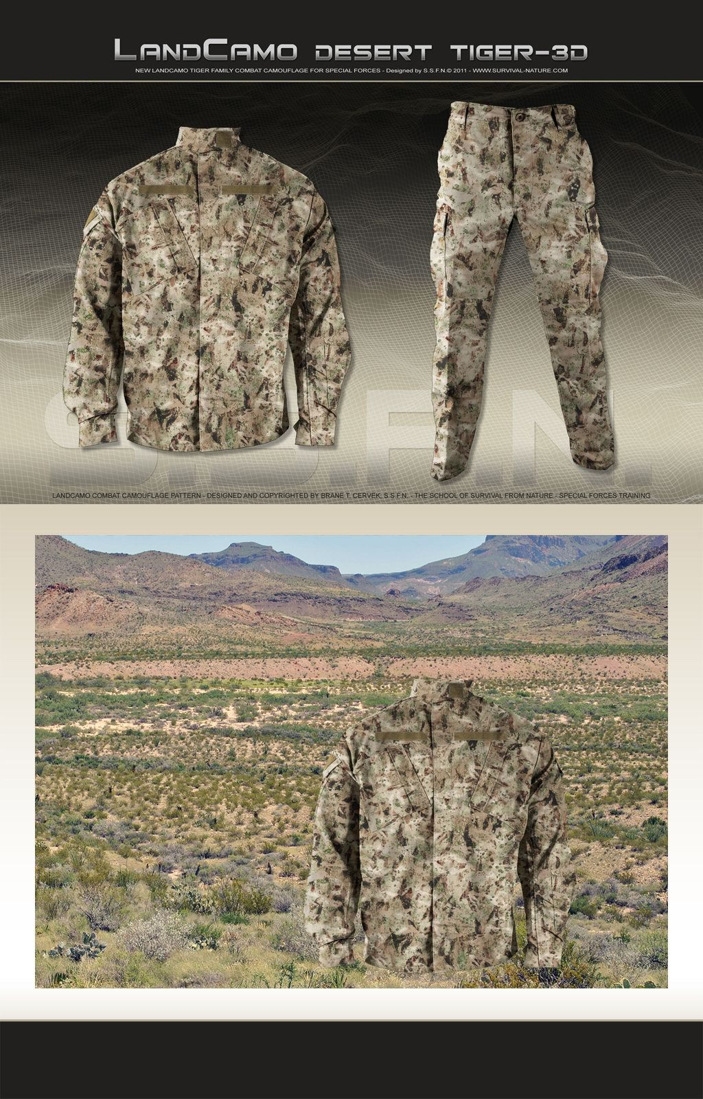 SSFN LandCamo DESERT TIGER 3D Combat Camouflage Pattern 1 <!  :en  >SSFN ExtremePro LandCamo Terrain Specific/Mission Specific Digital Combat Camouflage Patterns <!  :  >