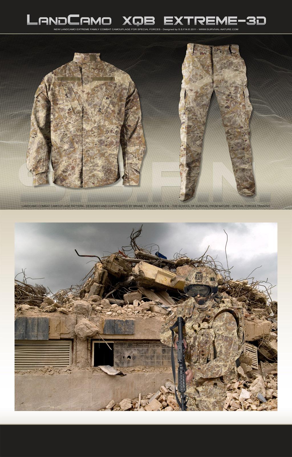 SSFN LandCamo XQB Extreme 3D Combat Camouflage Pattern 1 <!  :en  >SSFN ExtremePro LandCamo Terrain Specific/Mission Specific Digital Combat Camouflage Patterns <!  :  >