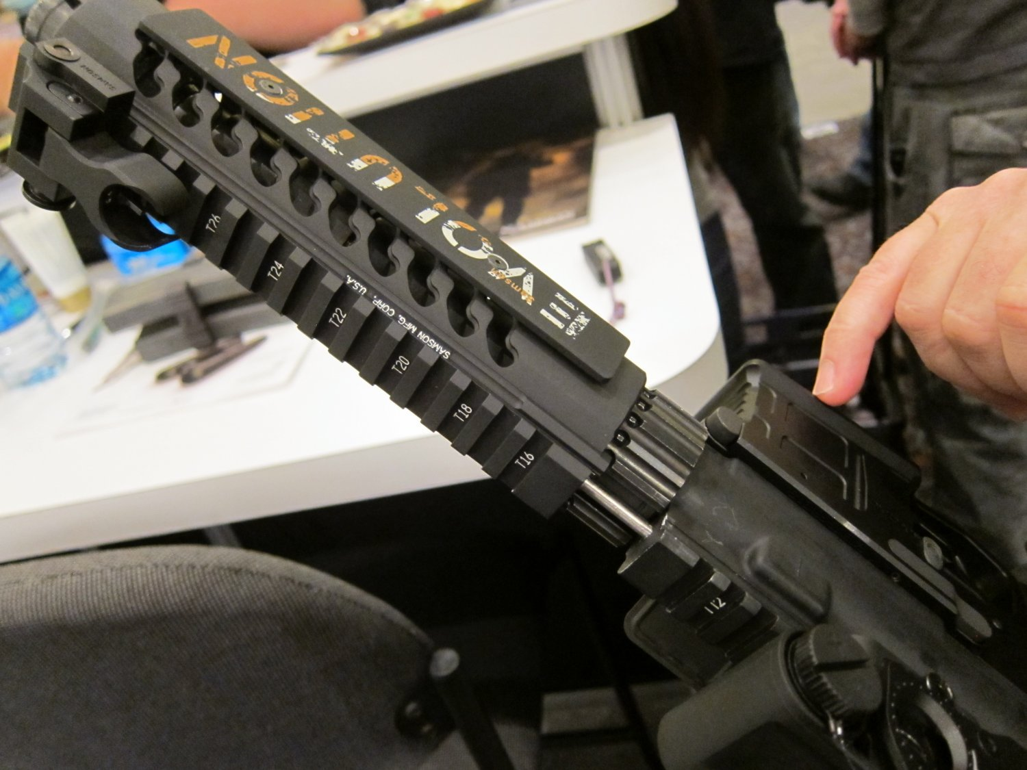 "Samson Evolution Series Rail System SHOT SHOW 2011 8 <!  :en  >Samson Evolution Series Rail System Outfitted Adams Arms 7.5"" PDW Piston AR SBR for Dynamic Close Quarters Battle (CQB) and Tactical Training: DARC Ready!<!  :  >"