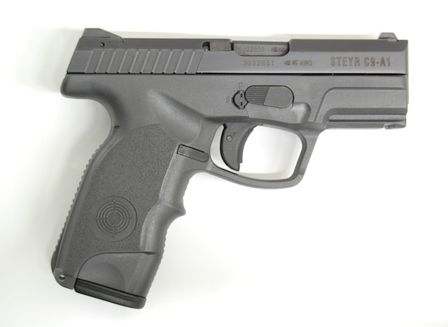 Steyr C9 A1 9mm Pistol 2 <!  :en  >Steyr C9 A1 Ultra Low Bore Axis 9mm Pistol with 17+1 Ammo Capacity for Concealed Carry (CCW) and Tactical Applications: Full Size Polymer Frame, Short Slide and 3.6 Barrel  <!  :  >