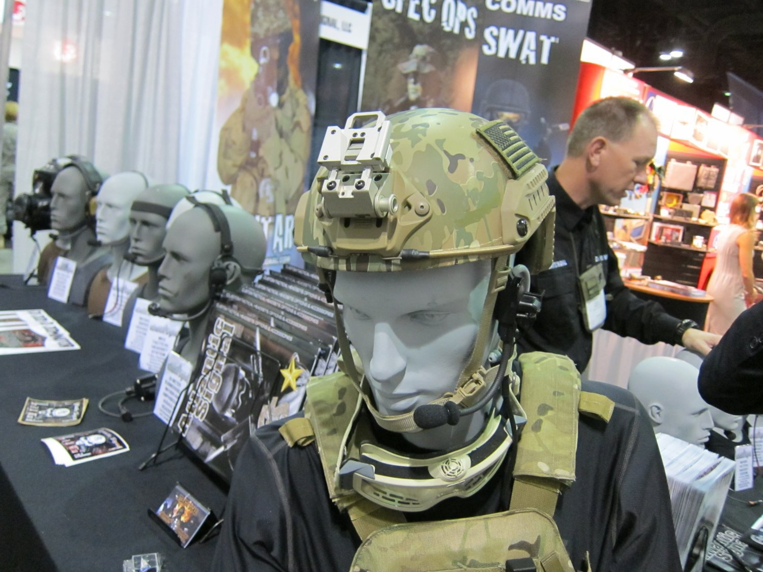 Atlantic Signal Dominator Waterproof Bone Conduction Hearing Pro Tactical Comms Headset and Ops Core SPECOPS Combat Helmet SOFIC 2011 7 <!  :en  >Ops Core FAST Ballistic Helmet (Crye MultiCam Camo Pattern?) Military Combat Helmet with FAST ARC Accessory Rail Connectors and Head Loc Chinstrap Retention System Going Operational in Afghanistan with U.S. Army Special Forces: FAST Helmet Demo Video, and Contour HD Tactical Helmet Cam (Camera) Photos! <!  :  >