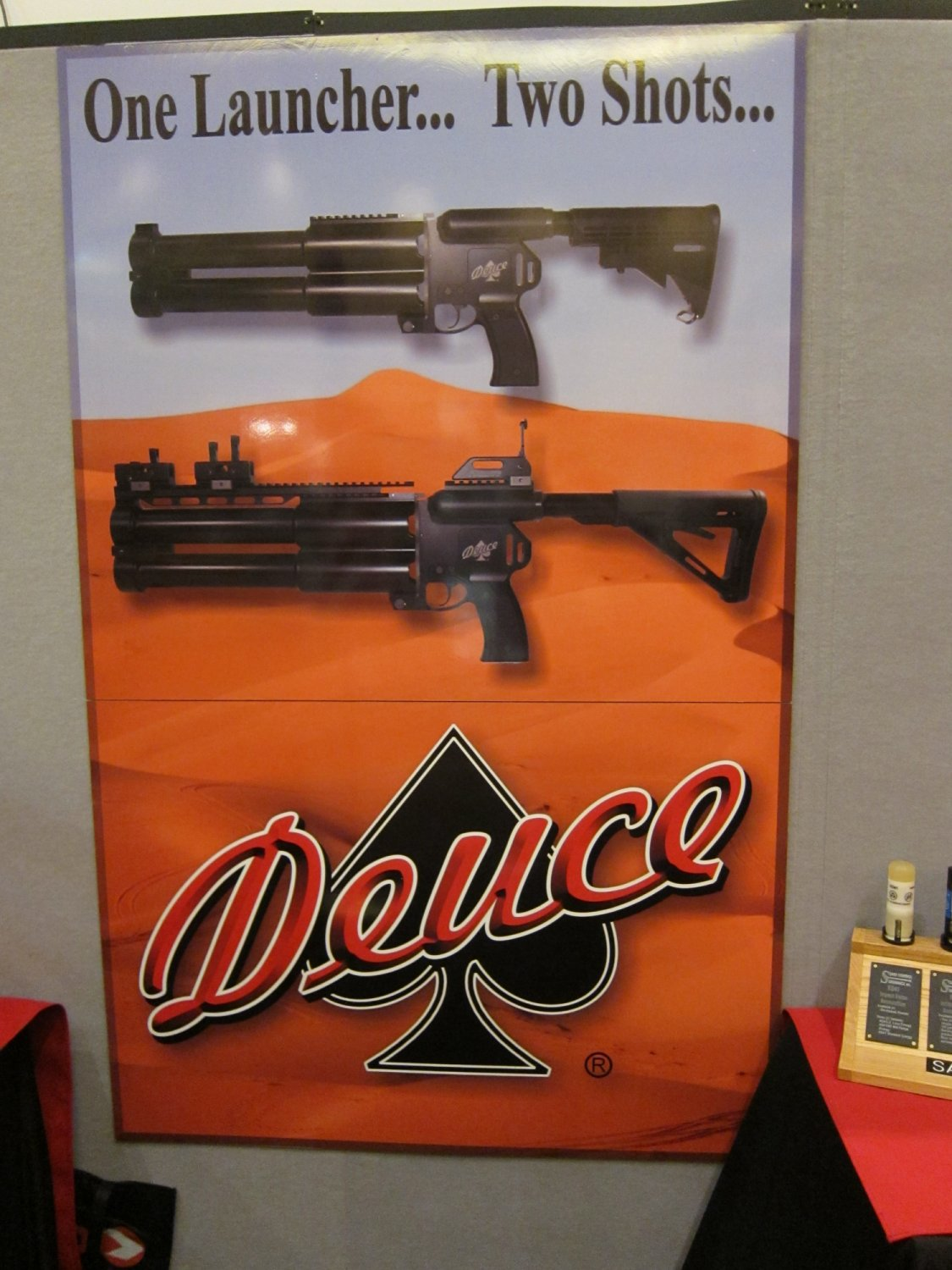 Sage Ordnance Systems Deuce Dual 40mm Grenade Launcher SHOT Show 2011 2 <!  :en  >Sage Ordnance Systems Deuce Over/Under Dual 40mm (40x46mm NATO)/37mm Sage Rifled/37mm Smooth Bore Grenade Launcher and Prototype Mag Fed Semi Auto 37mm Grenade Launcher <!  :  >