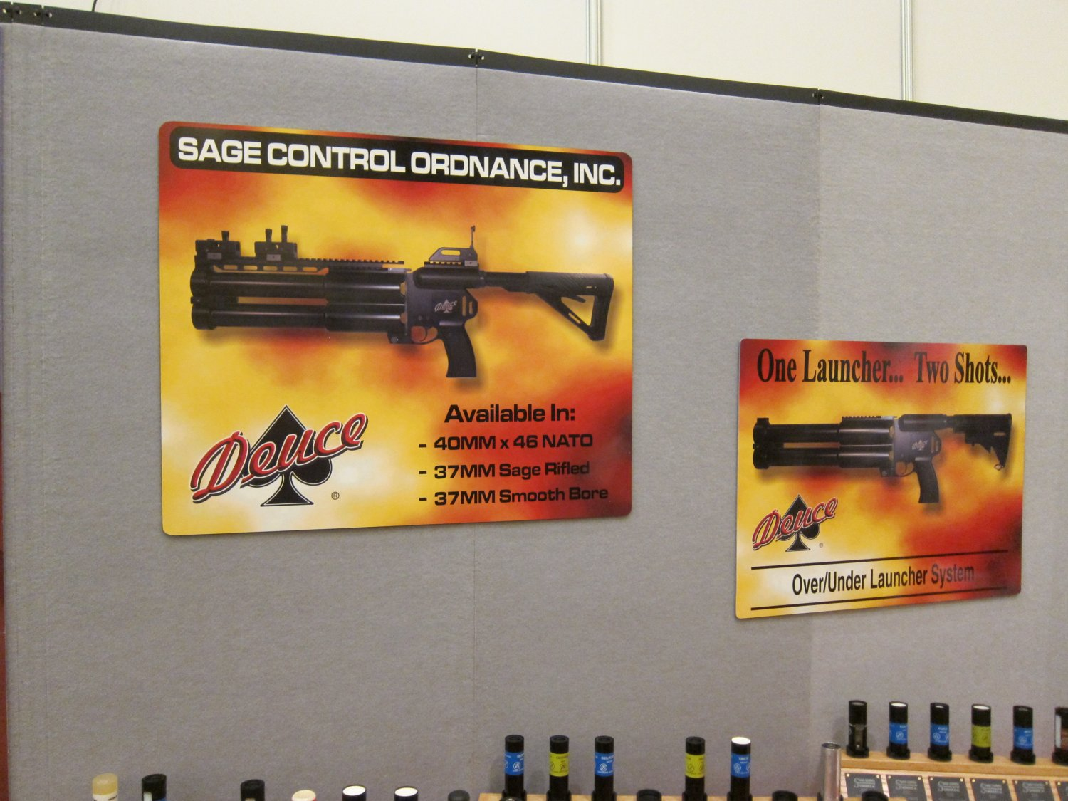 Sage Ordnance Systems Deuce Dual 40mm Grenade Launcher SHOT Show 2011 3 <!  :en  >Sage Ordnance Systems Deuce Over/Under Dual 40mm (40x46mm NATO)/37mm Sage Rifled/37mm Smooth Bore Grenade Launcher and Prototype Mag Fed Semi Auto 37mm Grenade Launcher <!  :  >