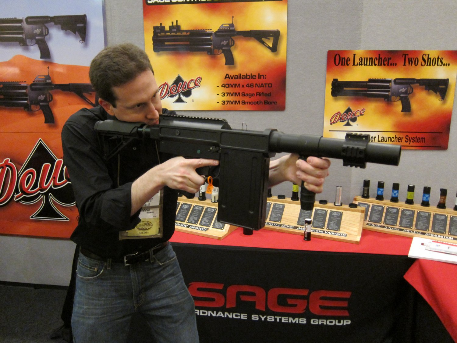 Sage Ordnance Systems Mag Fed Semi Auto 37mm Grenade Launcher David Crane SHOT Show 2011 1 <!  :en  >Sage Ordnance Systems Deuce Over/Under Dual 40mm (40x46mm NATO)/37mm Sage Rifled/37mm Smooth Bore Grenade Launcher and Prototype Mag Fed Semi Auto 37mm Grenade Launcher <!  :  >