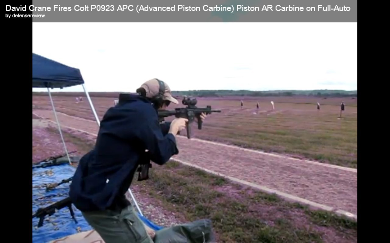 David Crane Running Colt P0923 APC Advanced Piston Carbine AR Carbine SBR at NDIA Infantry Small Arms Systems Symposium 2011 Range Day Shoot 3 <!  :en  >DR Action Video! Colt Model P0923 APC (Advanced Piston Carbine) Fired on Full Auto at the Range: Colt Piston Driven AR Carbine/SBR on the Way<!  :  >