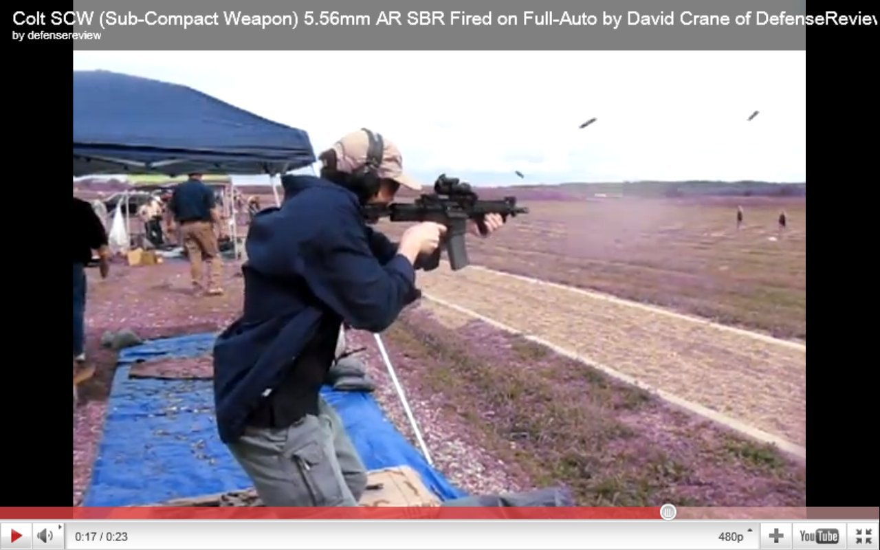 David Crane Running Colt SCW Sub Compact Weapon AR SBR at NDIA Infantry Small Arms Systems Symposium 2011 Range Day Shoot 1 <!  :en  >DR Action Video! Colt SCW (Sub Compact Weapon) Personal Defense Weapon (PDW) Type 5.56mm NATO AR SBR/Sub Carbine Fired on Full Auto at NDIA Range Day<!  :  >