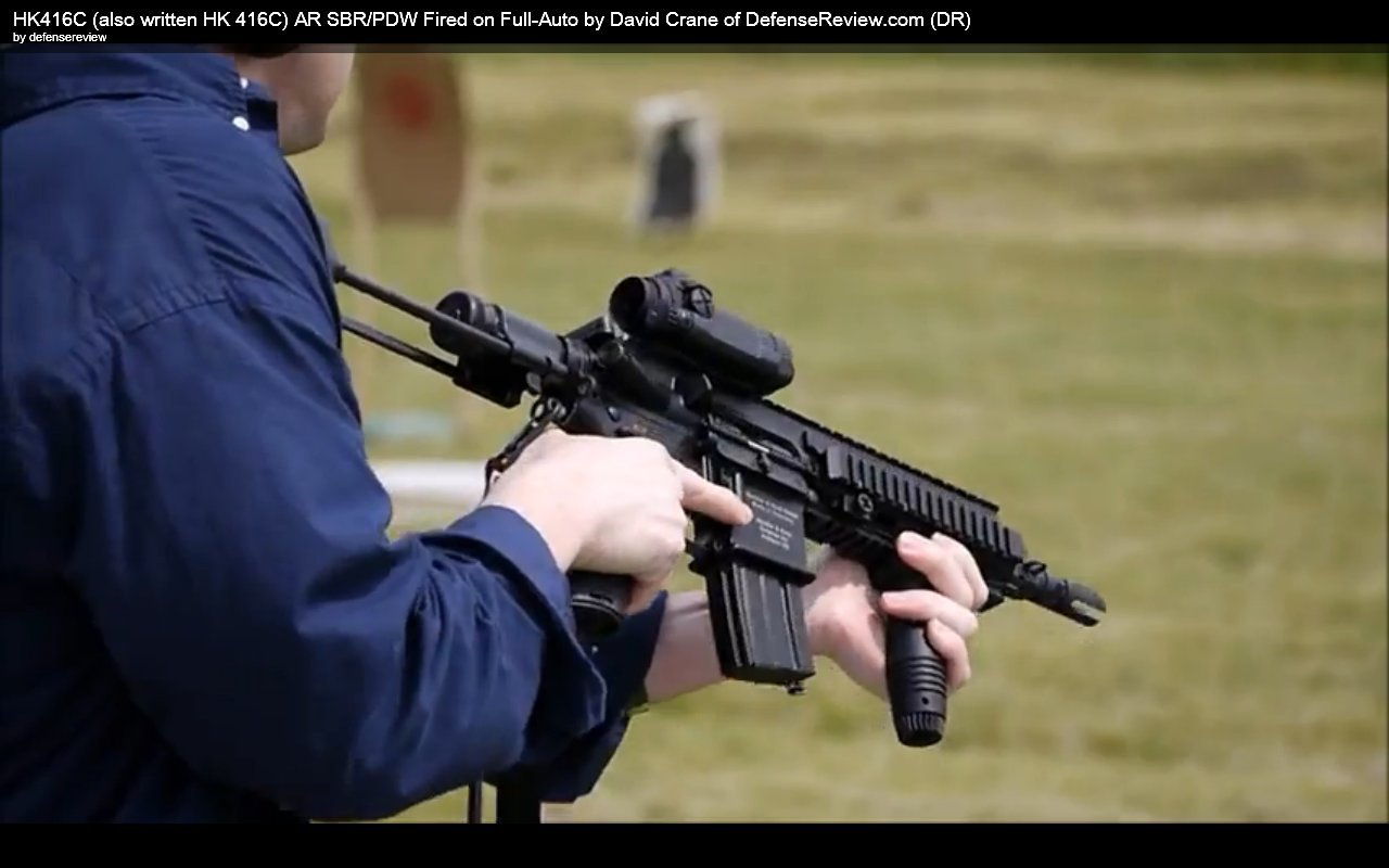 David Crane Running HK416C AR SBR at NDIA Infantry Small Arms Systems Symposium 2011 Range Day Shoot 4 DR Exclusive Video: HK416C (also written HK 416C) Ultra Compact Assault Rifle SBR/PDW (Short Barreled Rifle/Personal Defense Weapon) Fired on Full Auto at NDIA Infantry Small Arms Systems Symposium 2011 Range Day Shoot!