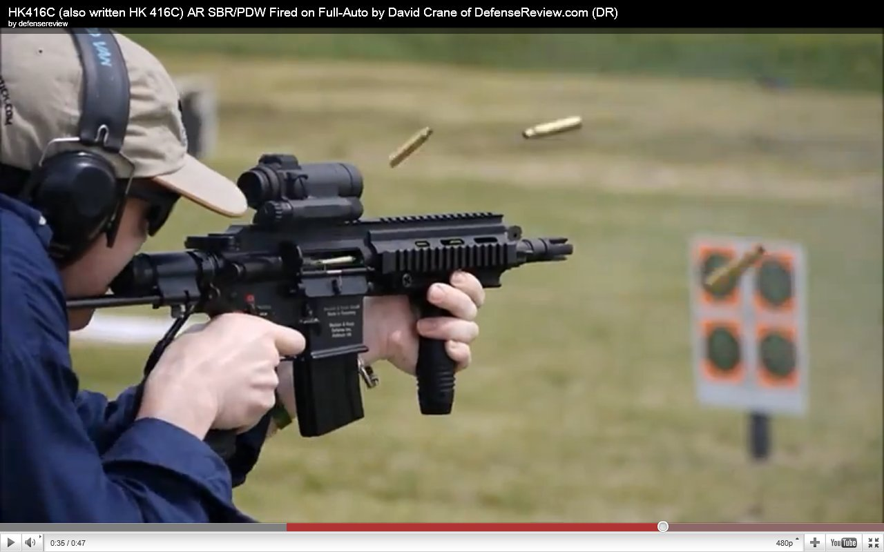 David Crane Running HK416C AR SBR at NDIA Infantry Small Arms Systems Symposium 2011 Range Day Shoot 9 DR Exclusive Video: HK416C (also written HK 416C) Ultra Compact Assault Rifle SBR/PDW (Short Barreled Rifle/Personal Defense Weapon) Fired on Full Auto at NDIA Infantry Small Arms Systems Symposium 2011 Range Day Shoot!