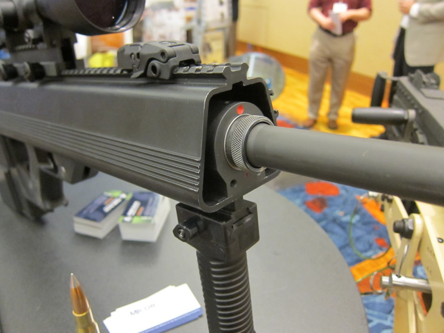 Micor Leader 50 Lightweight Bullpup Semi Auto .50 BMG Sniper Anti Materiel Rifle NDIA Small Arms Symposium 2011 DefenseReview.com DR 1 <!  :en  >MICOR Defense Leader 50 Ultra Compact, Lightweight Bullpup Semi Auto .50 BMG (12.7x99mm NATO) Sniper/Anti Materiel Rifle and PNW Arms Weapons Science .50BMG Ammo at NDIA Infantry Small Arms Systems Symposium 2011: Potential Long Range Lethality Game Changer Combo for 21st Century Infantry Warfare (Photos and Video!)<!  :  >