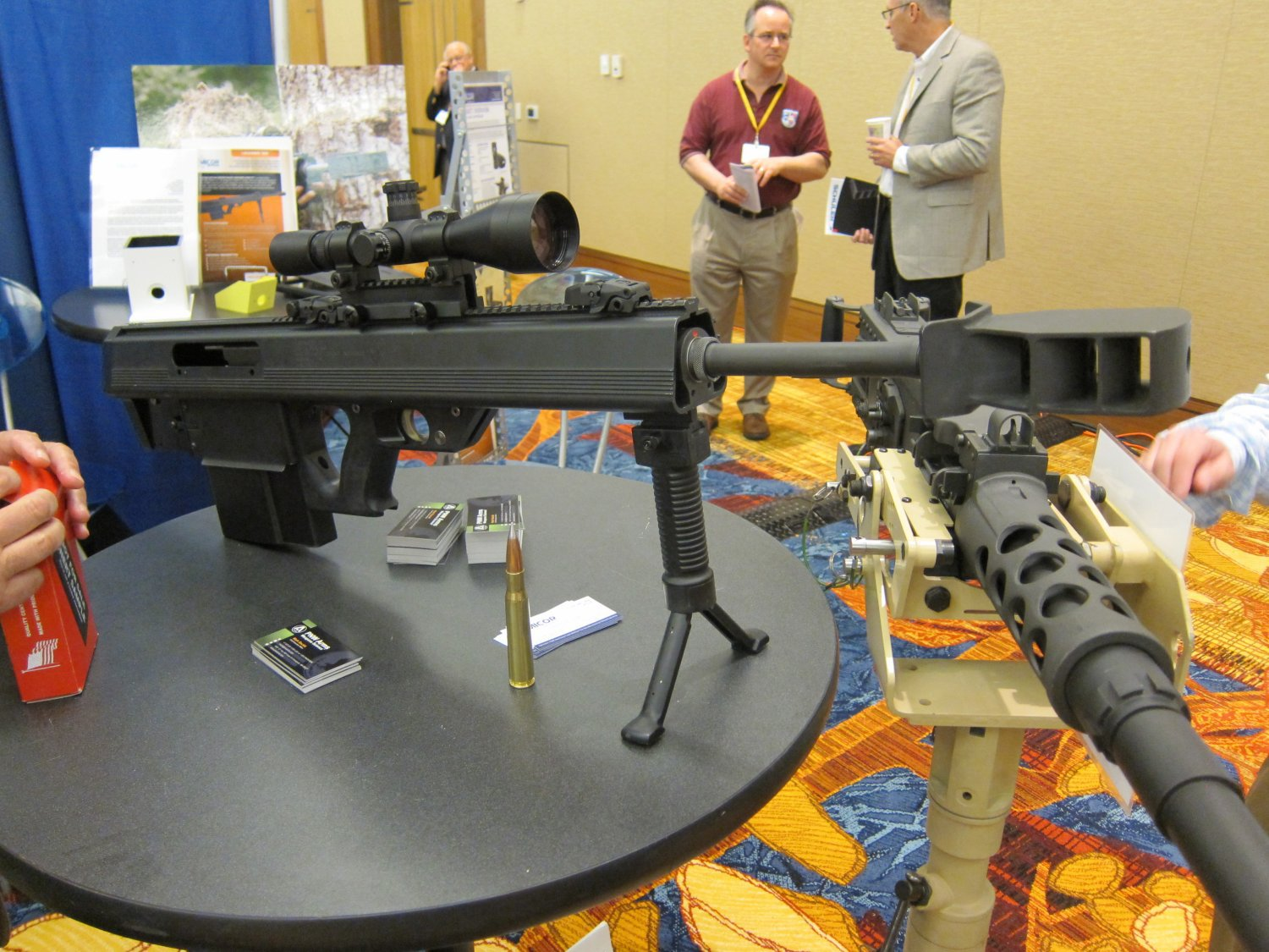 Micor Leader 50 Lightweight Bullpup Semi Auto .50 BMG Sniper Anti Materiel Rifle NDIA Small Arms Symposium 2011 DefenseReview.com DR 2 <!  :en  >MICOR Defense Leader 50 Ultra Compact, Lightweight Bullpup Semi Auto .50 BMG (12.7x99mm NATO) Sniper/Anti Materiel Rifle and PNW Arms Weapons Science .50BMG Ammo at NDIA Infantry Small Arms Systems Symposium 2011: Potential Long Range Lethality Game Changer Combo for 21st Century Infantry Warfare (Photos and Video!)<!  :  >