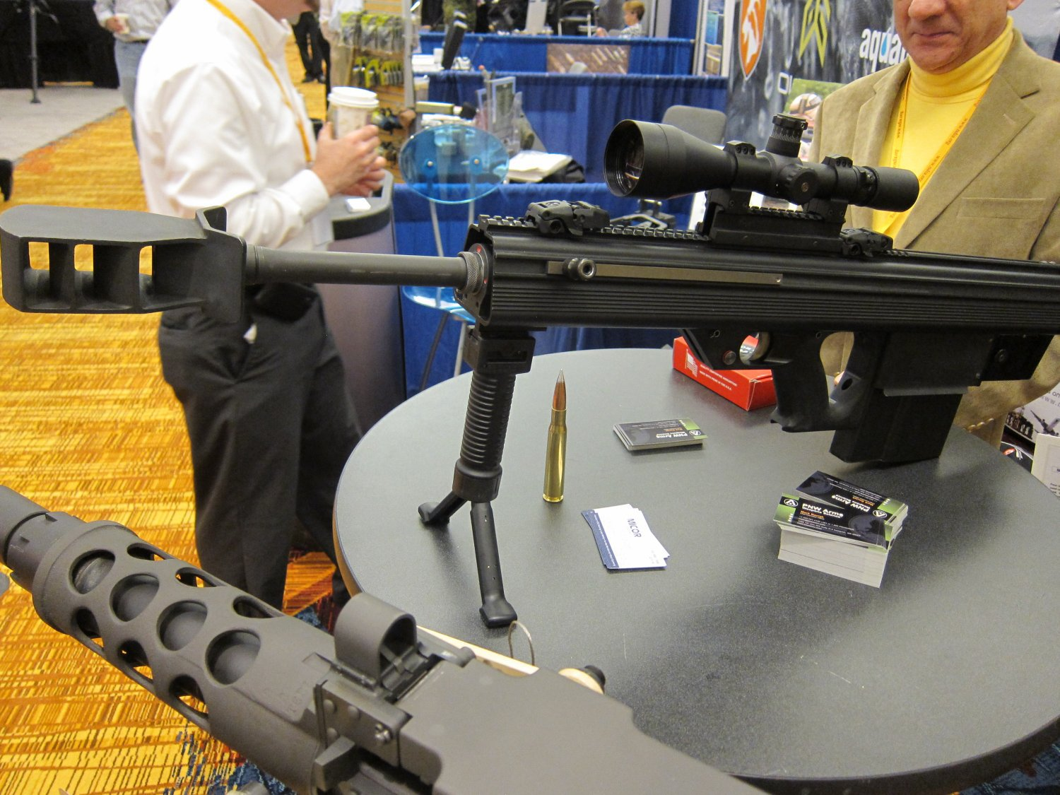 Micor Leader 50 Lightweight Bullpup Semi Auto .50 BMG Sniper Anti Materiel Rifle NDIA Small Arms Symposium 2011 DefenseReview.com DR 3 <!  :en  >MICOR Defense Leader 50 Ultra Compact, Lightweight Bullpup Semi Auto .50 BMG (12.7x99mm NATO) Sniper/Anti Materiel Rifle and PNW Arms Weapons Science .50BMG Ammo at NDIA Infantry Small Arms Systems Symposium 2011: Potential Long Range Lethality Game Changer Combo for 21st Century Infantry Warfare (Photos and Video!)<!  :  >
