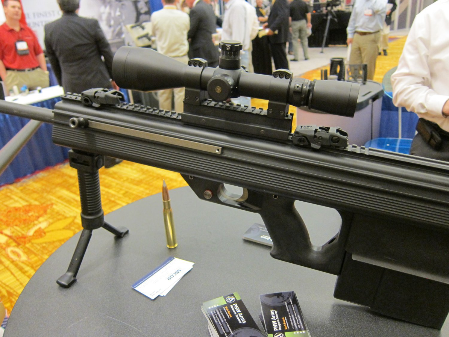 Micor Leader 50 Lightweight Bullpup Semi Auto .50 BMG Sniper Anti Materiel Rifle NDIA Small Arms Symposium 2011 DefenseReview.com DR 4 <!  :en  >MICOR Defense Leader 50 Ultra Compact, Lightweight Bullpup Semi Auto .50 BMG (12.7x99mm NATO) Sniper/Anti Materiel Rifle and PNW Arms Weapons Science .50BMG Ammo at NDIA Infantry Small Arms Systems Symposium 2011: Potential Long Range Lethality Game Changer Combo for 21st Century Infantry Warfare (Photos and Video!)<!  :  >