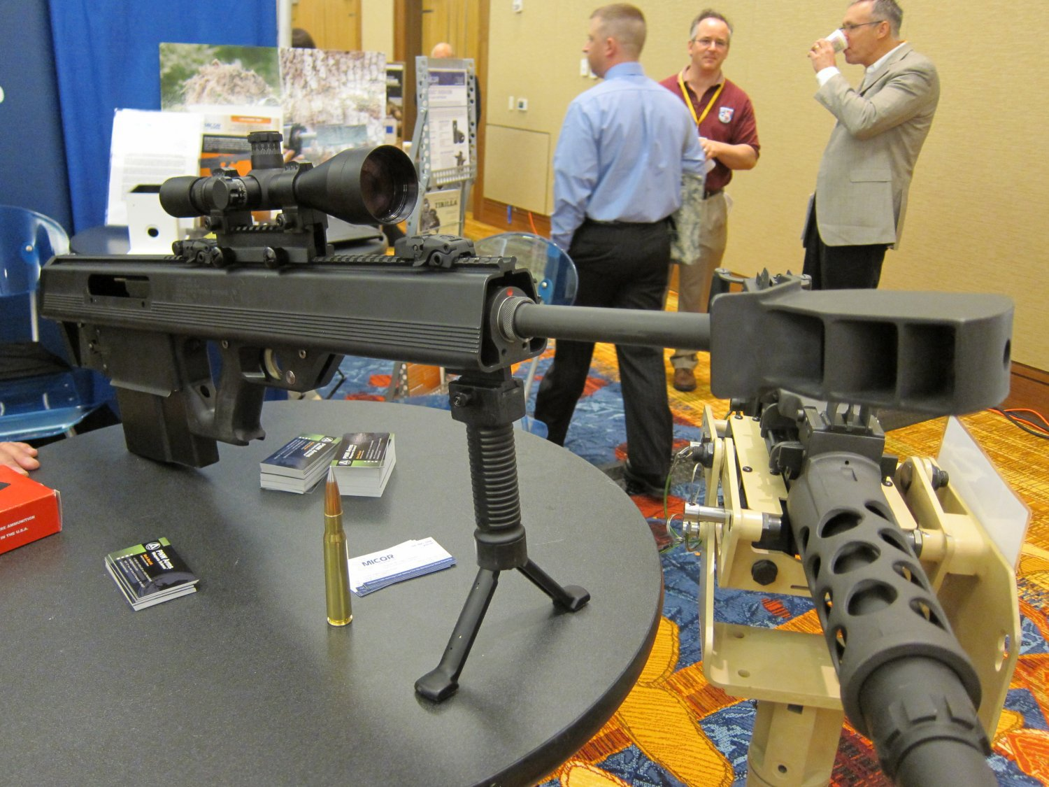 Micor Leader 50 Lightweight Bullpup Semi Auto .50 BMG Sniper Anti Materiel Rifle NDIA Small Arms Symposium 2011 DefenseReview.com DR 8 <!  :en  >MICOR Defense Leader 50 Ultra Compact, Lightweight Bullpup Semi Auto .50 BMG (12.7x99mm NATO) Sniper/Anti Materiel Rifle and PNW Arms Weapons Science .50BMG Ammo at NDIA Infantry Small Arms Systems Symposium 2011: Potential Long Range Lethality Game Changer Combo for 21st Century Infantry Warfare (Photos and Video!)<!  :  >