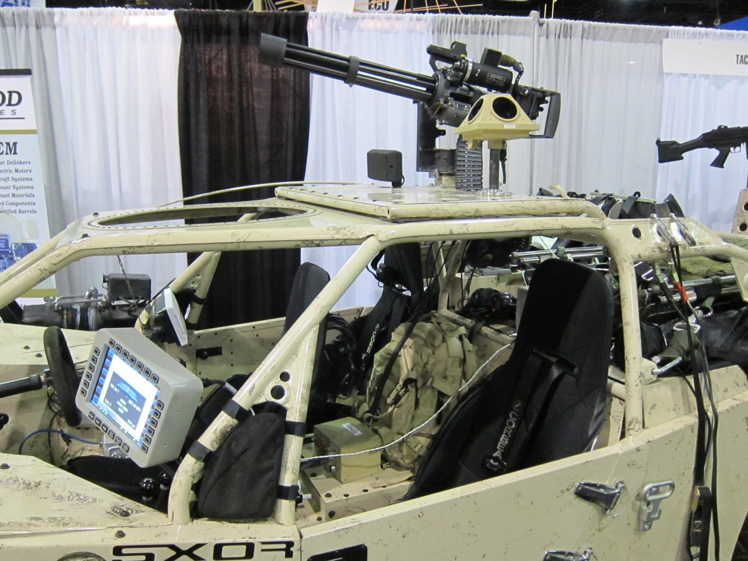 Garwood Industries M 134G Gatling Gun Minigun System SOFIC 2011 DefenseReview DR 4 BC Customs (BCC) Search and Rescue Tactical Vehicle 5 (SRTV 5) Baja Racing Type All Terrain Combat Vehicle Armed/Weaponized with 7.62mm NATO Garwood Industries (GI) M134G Minigun/Gatling Gun: SXOR Mobility Vehicles Go Tactical for Military Special Operations Forces (SOF) Missions