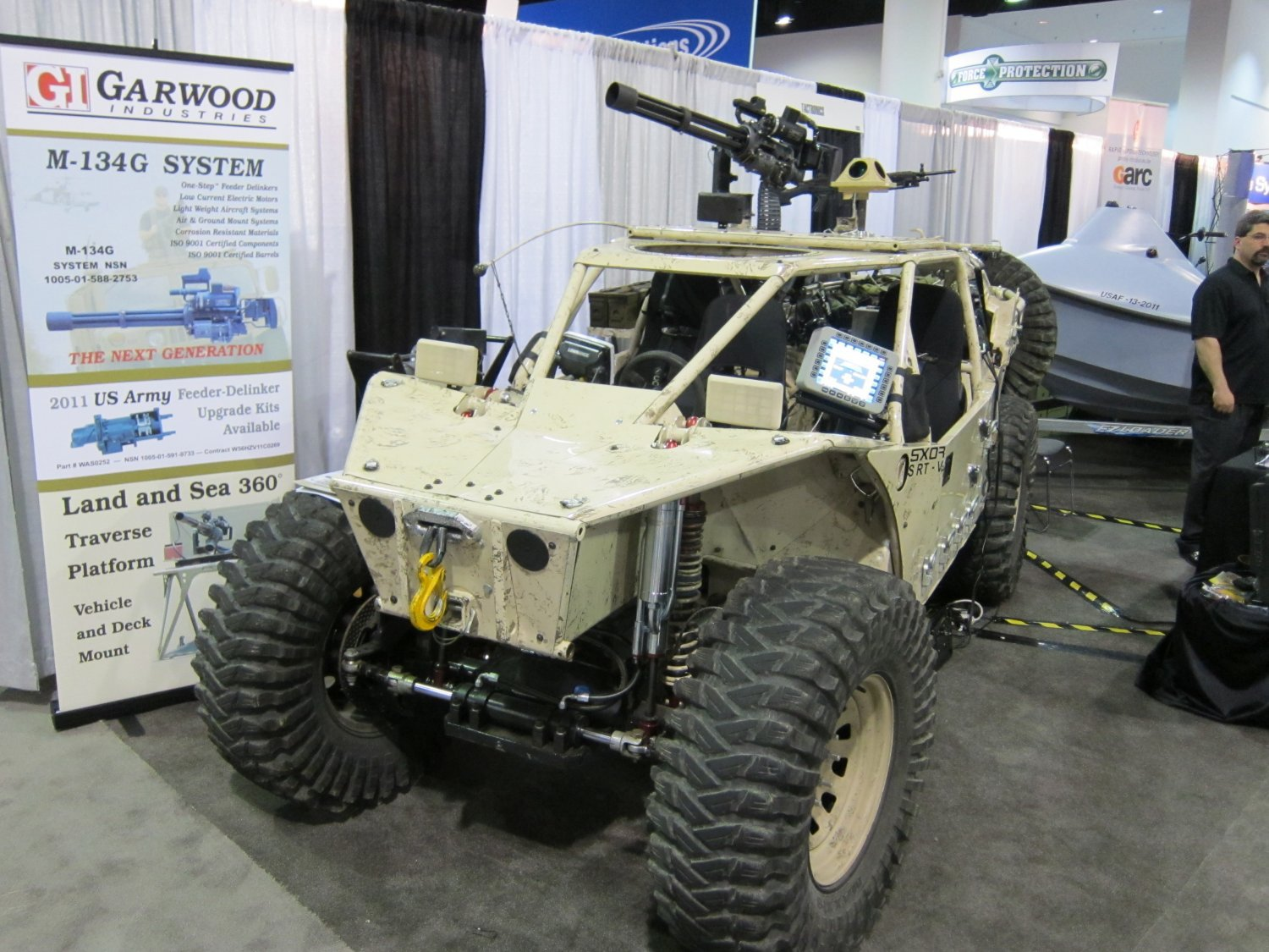 Garwood Industries M 134G Gatling Gun Minigun System SOFIC 2011 DefenseReview DR 5 BC Customs (BCC) Search and Rescue Tactical Vehicle 5 (SRTV 5) Baja Racing Type All Terrain Combat Vehicle Armed/Weaponized with 7.62mm NATO Garwood Industries (GI) M134G Minigun/Gatling Gun: SXOR Mobility Vehicles Go Tactical for Military Special Operations Forces (SOF) Missions