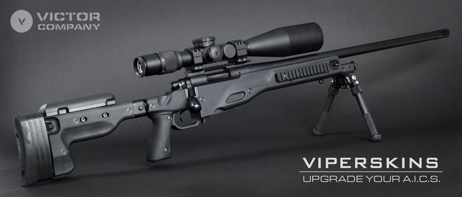 Victor Company ViperSkins Accuracy International AI Arctic Warfare AW Sniper Rifle Series AICS Replacement Parts Kit 1 <!  :en  >Victor Company Introduces ViperSkins AICS Parts Upgrade Kit for Accuracy International (AI) Arctic Warfare (AW) Anti Materiel/Sniper Rifle Series Aluminum Rifle Stock/Chassis System <!  :  >