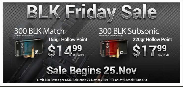 PNW Arms 300BLK Banner Black Friday 300 AAC Blackout (300BLK / 7.62x35mm) Ammo Sale on Black Friday!: PNW Arms Announces Special Offer on Special Round