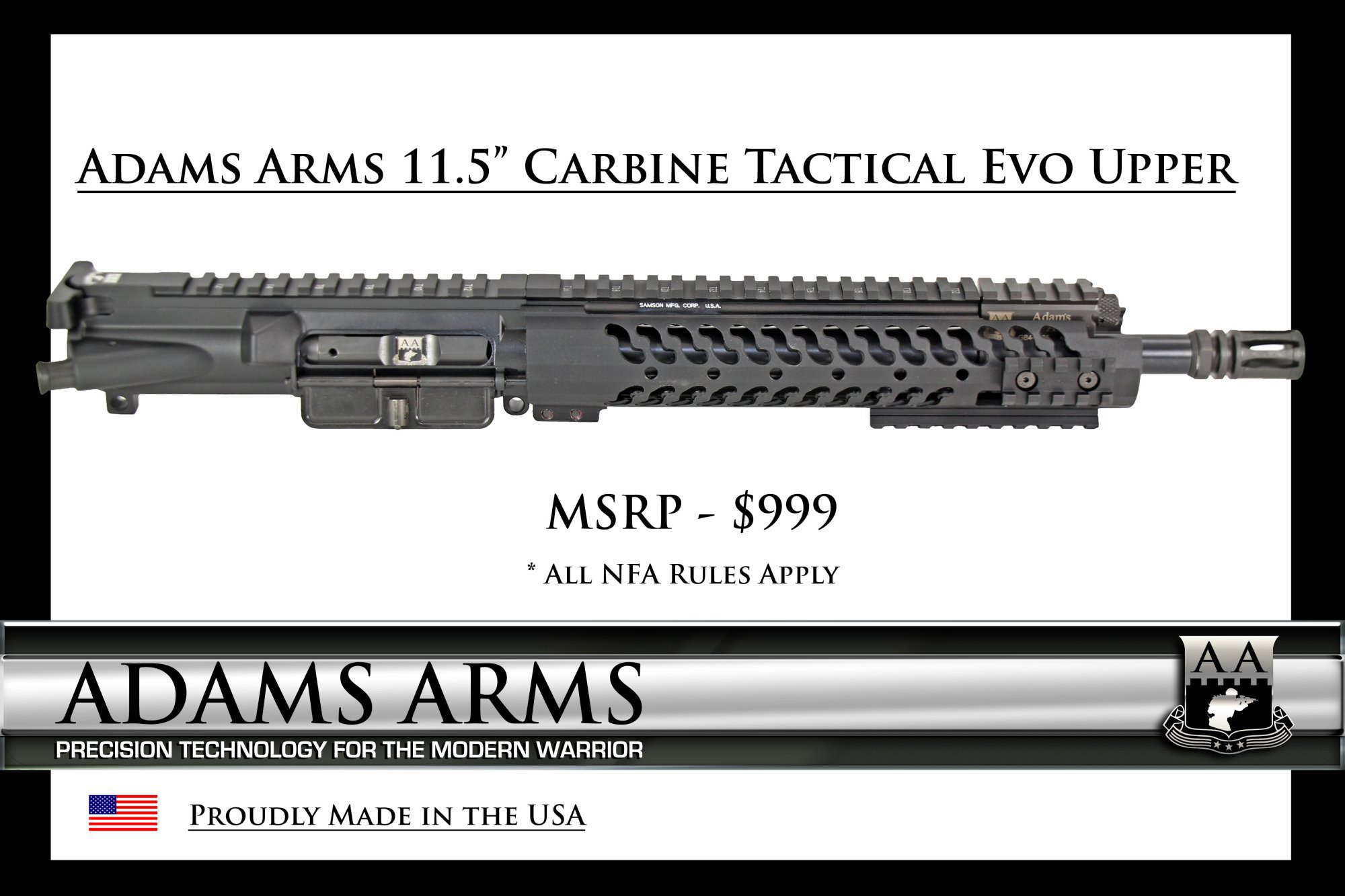 Adams Arms AA 11.5 inch Carbine Tactical Evo Piston AR Upper Receiver Tactical AR SBR Upper 1 Adams Arms (AA) Tactical Evo Piston AR (AR 15/M16 Rifle / M4/M4A1 Carbine) Uppers (Upper Receivers) with Samson Evolution Rail System/Tactical Handguards for Martial Combat and Tactical Training (Videos!)