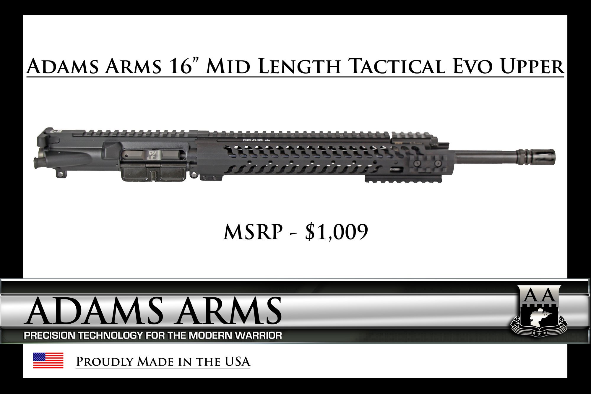 Adams Arms AA 16 inch Mid Length Tactical Evo Piston AR Upper Receiver Tactical AR Carbine Upper 1 Adams Arms (AA) Tactical Evo Piston AR (AR 15/M16 Rifle / M4/M4A1 Carbine) Uppers (Upper Receivers) with Samson Evolution Rail System/Tactical Handguards for Martial Combat and Tactical Training (Videos!)