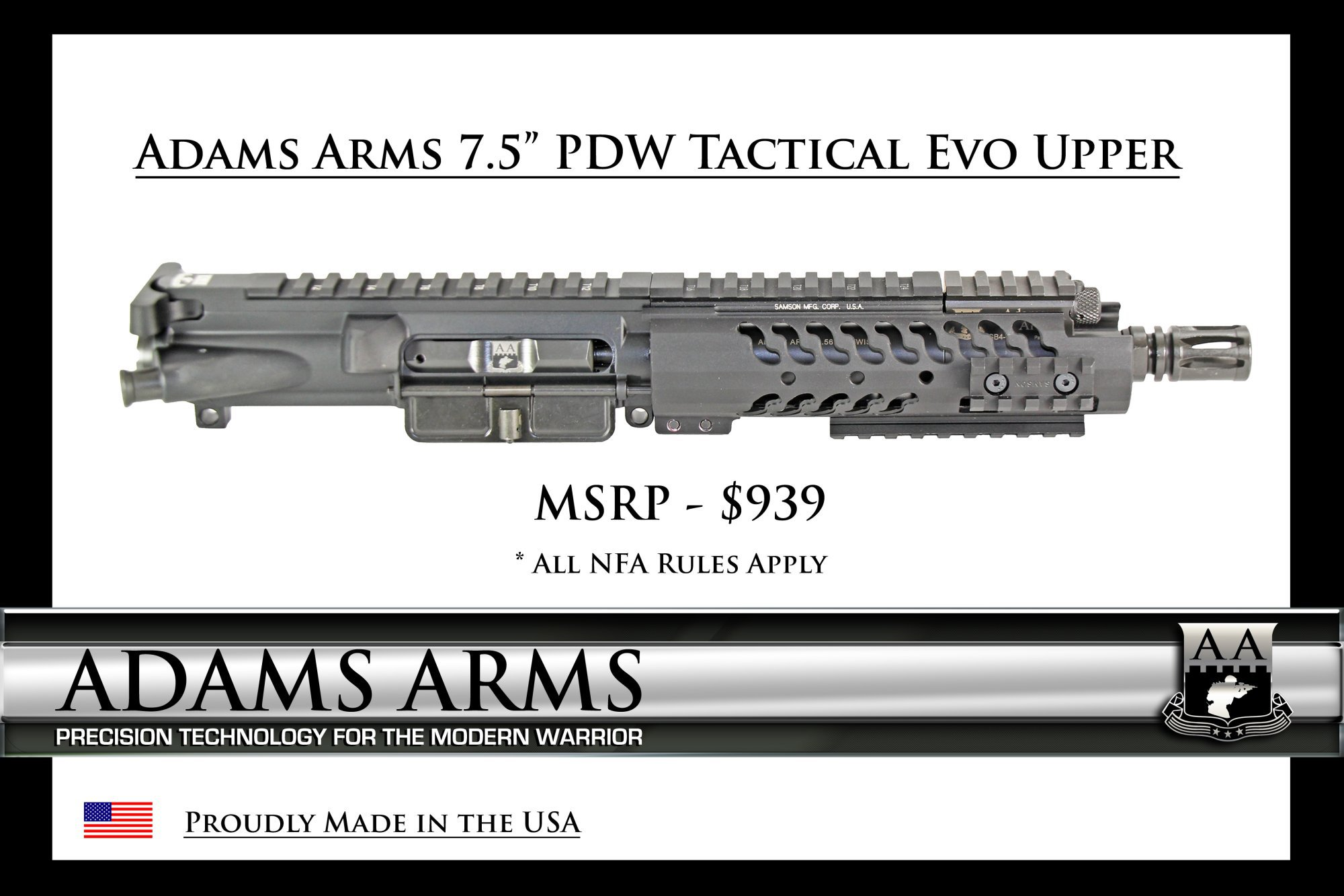 Adams Arms AA 7.5 inch PDW Tactical Evo Piston AR Upper Receiver Tactical AR SBR Upper 1 Adams Arms (AA) Tactical Evo Piston AR (AR 15/M16 Rifle / M4/M4A1 Carbine) Uppers (Upper Receivers) with Samson Evolution Rail System/Tactical Handguards for Martial Combat and Tactical Training (Videos!)
