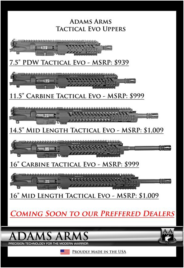 Adams Arms AA Mid Length Tactical Evo Piston AR Upper Receiver Family Exported Adams Arms (AA) Tactical Evo Piston AR (AR 15/M16 Rifle / M4/M4A1 Carbine) Uppers (Upper Receivers) with Samson Evolution Rail System/Tactical Handguards for Martial Combat and Tactical Training (Videos!)