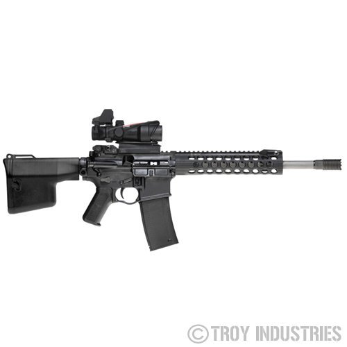 Troy Industries Battle Rail Alpha with Integral Spring Loaded BattleSight 2 Troy Industries BattleRail Alpha and TRX Extreme Lightweight Modular Rail Systems/Tactical Handguards: Ready for a Custom Tactical AR (AR 15) Rifle/Carbine/SBR Build