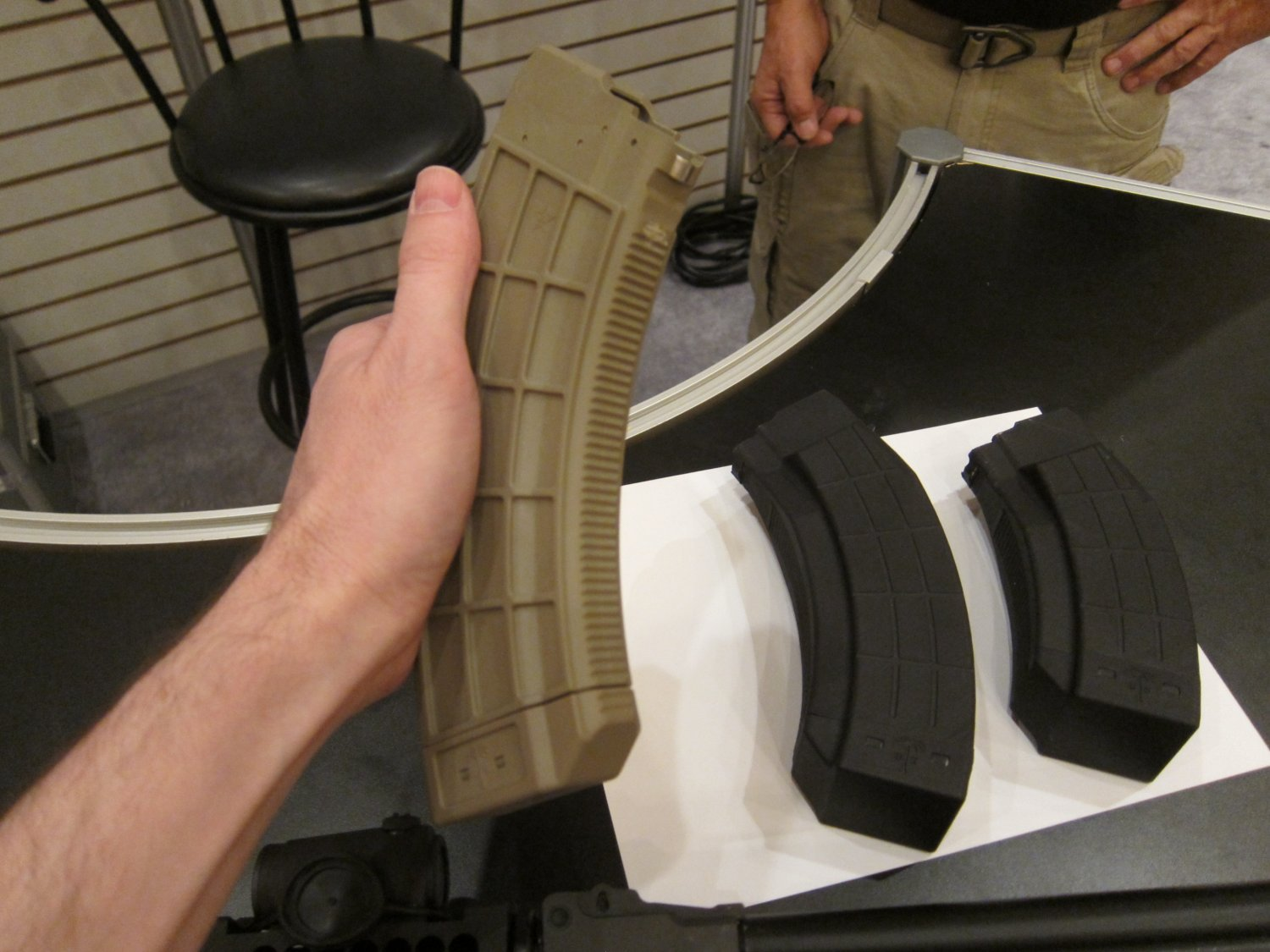 US PALM  Qaud Stack 4x2 45 Round and 30 Round AK Mags AK 47 AKM Rifle Magazines TangoDown SHOT Show 2012 DefenseReview.com DR 4 US PALM 45 Round and 30 Round Quad Stack (4x2 config) 7.62x39mm Russian Caliber Polymer AK Mags (Rifle Magazines) at SHOT Show 2012: The Kalashnikov AK 47/AKM Rifle Gets a Big Boost in Immediate Ammo Capacity/Tactical Firepower! (Video!)