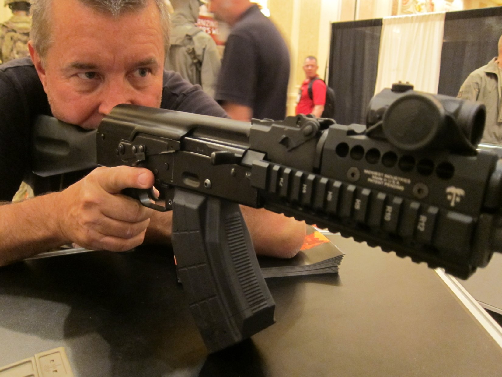US PALM Takedown/Breakdown AK (Kalashnikov AK-47/AKM Rifle/Carbine) with US PALM/Midwest Industries MI Rail Kit at SHOT Show 2012: Tactical, Practical and Backpackable AK for Military Special Operations and Civilian Tactical Shooters! (Video!)