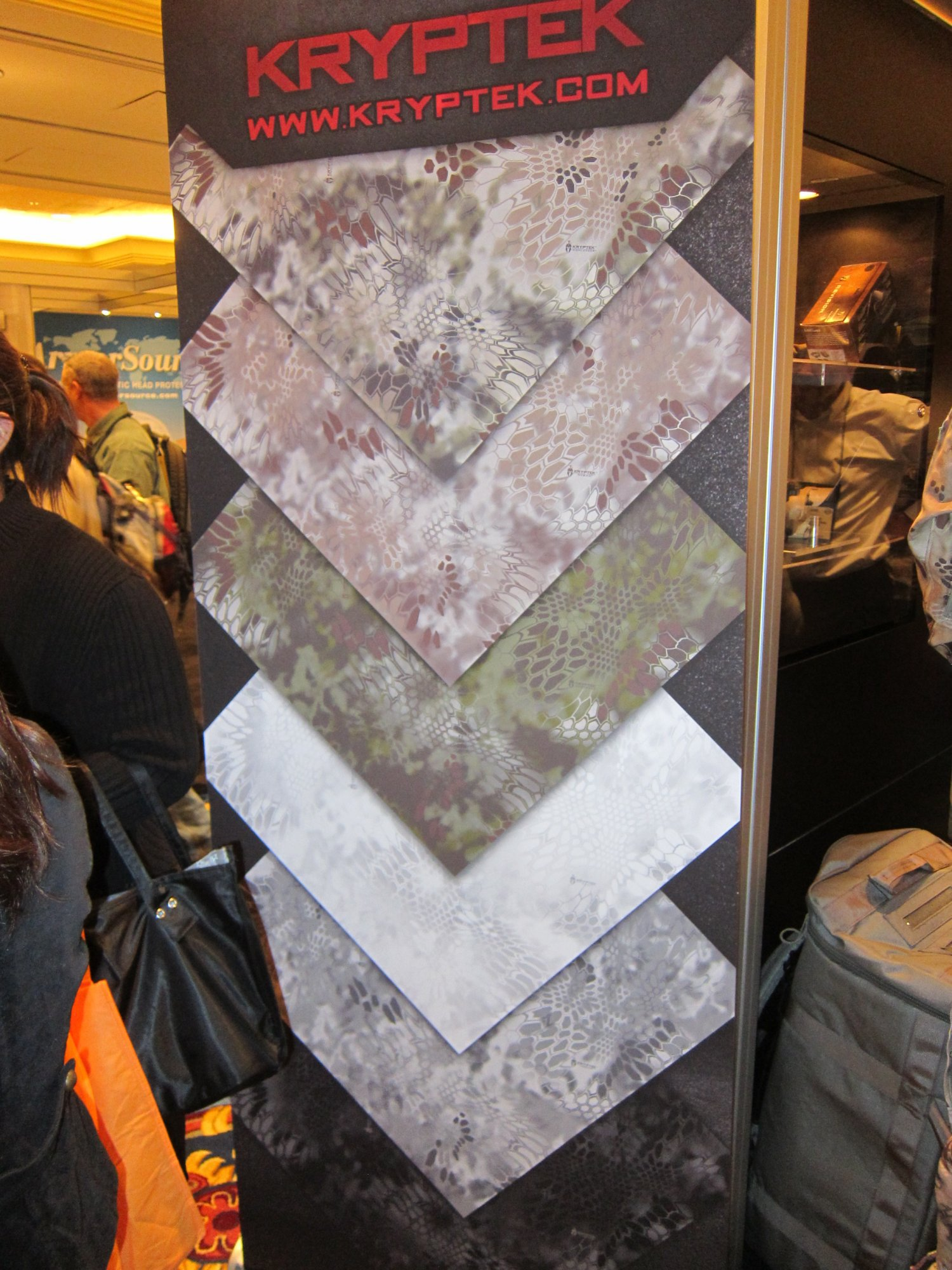 KRYPTEK LEAF Combat Camouflage Source One Distributing SOD Booth SHOT Show 2012 1 18 2012 DefenseReview.com DR 4 Kryptek LEAF/Camo Technologies 3 Dimensional (3 D)/Multi Directional Biomimetic Military Combat Camouflage (Camo) Patterns at SHOT Show 2012: Is the Armys Future Soldier Going Reptilian? (Video!)