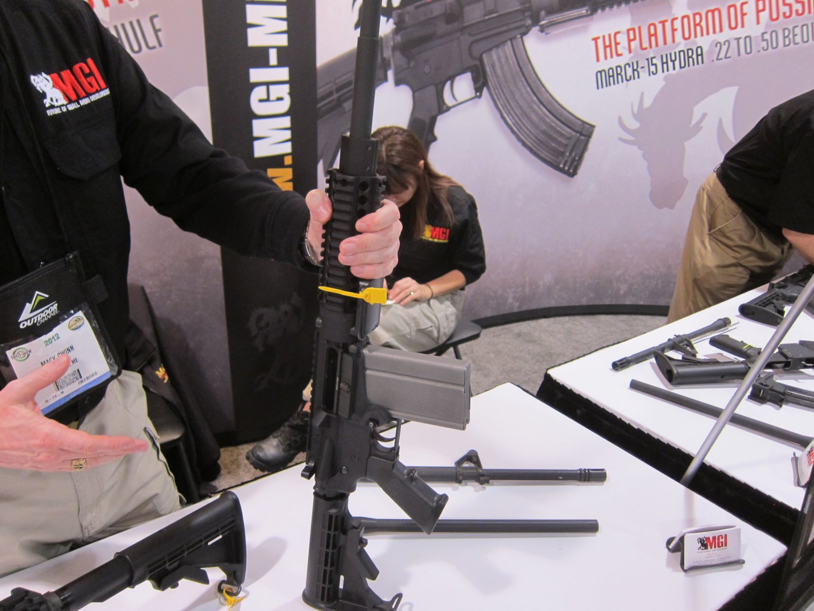 MGI Hydra AR 7.62mm Magazine SHOT Show 2012 DefenseReview.com DR 1 MGI Hydra Modular 7.62mm NATO/.308 Win. Tactical AR (AR 15) Rifle/Carbine/SBR (Short Barreled Rifle) Conversion Kit Prototype with Modular Lower Receiver, 7.62mm Magwell and Modified M14 Mag (Photos and Video!)