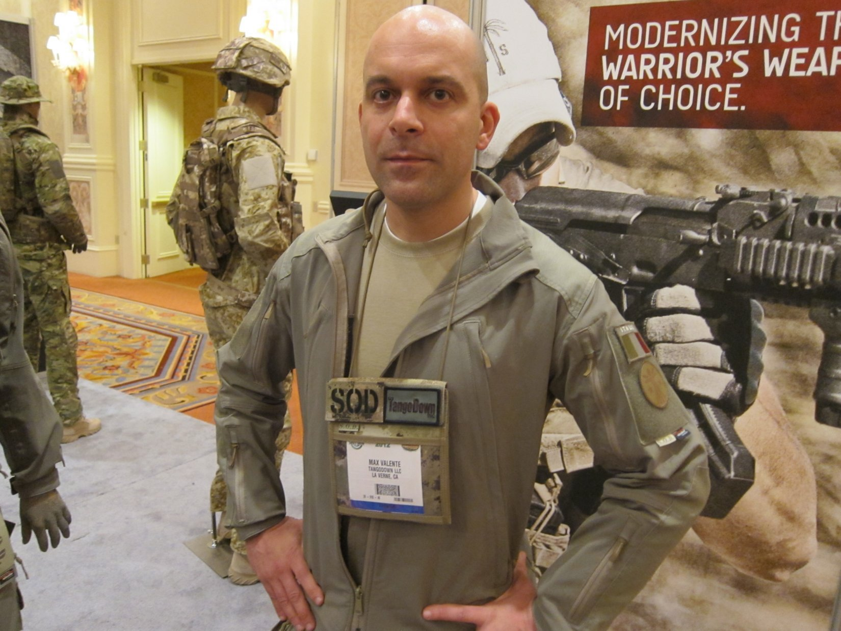 SOD Gear Special Operations Department Gear Max Valente Italian Tactical Combat Clothing TangoDown SHOT Show 2012 1 17 2012 DefenseReview.com DR 1 SOD Gear/SOD USA Stealth ADP Battle Jacket and Pants Made with Schoeller Performance Fabric: High Tech Combat Clothing for Military Special Operations Forces (SOF) and Civilian Tactical Shooters