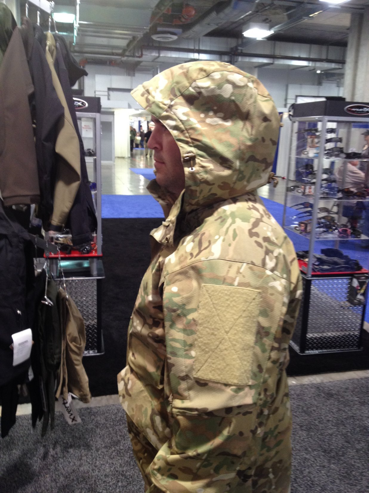 Vertx Tactical Smock Combat Jacket Wearable Go Bag Darrel Morrow at SHOT Show 2012 DefenseReview.com DR 3 Vertx MultiCam Smock (Tactical Smock)/Hoodie Shell: Combat Smock/Tactical Jacket with Six (6) Internal/Integral 5.56mm Rifle Mag Pouches for Tactical Shooters! (Video!)